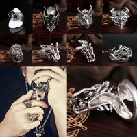 Men's Stainless Steel Ring Band Punk Gothic Rock Biker Skull Finger Silver Ring