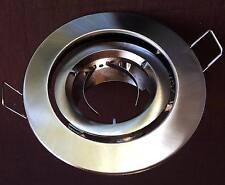 10 x Satin Chrome Gimbal DOWNLIGHT FITTINGS Hole cut 90m +LAMP HOLDER Spot light