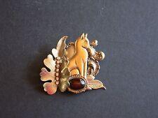 "3"" Vintage Brasstone Rhodium Plated Cat Brooch with Tiger Eye & Rhinestones"