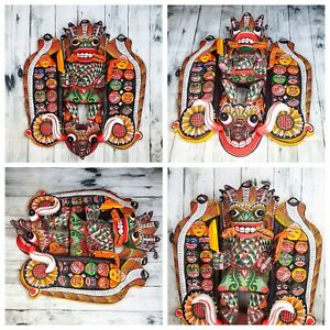 "Elegant Wooden Handmade Wall Decor Traditional Mask 12"" 18 Figures in Side Burns"