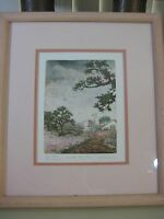 """SUE KRAUSE SINGED & NUMBERED 19/75 """"COUNTRY SUNSHINE"""" HAND COLORED ETCHING PRINT"""