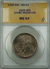 1925 Stone Mountain Commemorative Silver Half Dollar 50c Coin ANACS MS-64 Toned