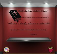 Wall Stickers Religion Bible Quote Verse Phil 4:8: Finally, brothers,  zz024