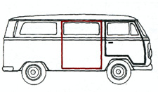 Sliding door seal VW Type 2 1968-1979