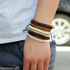 GIFT New Unisex Diy Lovers Hand-Woven Beads Leather Multilayer Bracelet