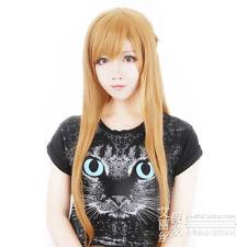 Sword Art Online Asuna Brownish Long Straight Brown Anime Cosplay Wig + Free NET