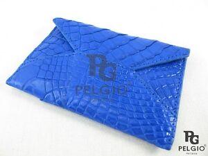 PELGIO Genuine Crocodile Skin Leather Slim Credit Card Holders Wallet Purse Blue