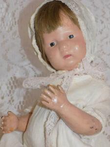 "12"" Antique Wood Schoenhut Character Baby Doll"