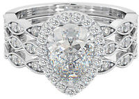 Ladies 3 piece Wedding Engagement Teardrop/Pear Cut Halo Ring Set