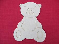 TEDDY BEAR UNPAINTED WOODEN MDF CRAFT  BLANK.