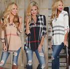 Women Plaid Blouse Irregular 3/4 Sleeve T Shirt Blouse Check Tunic Tops Pullover