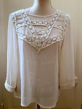 Blusa avorio ricamata TOPSHOP ivory embroidered shirt blouse UK12 EU40 IT44