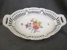 H7  Schwarzenhammer Bavaria Germany US Zone Reticulated Oval Serving Bowl Floral