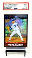 2007 Topps Chrome REFRACTOR Astros JUSTIN VERLANDER Rookie Card PSA 9 MINT Pop22