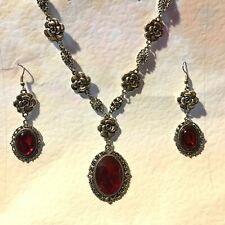 CAMELLIA FILIGREE VICTORIAN STL RICH RED SILVER PLATED NECKLACE EARRINGS SET CFS