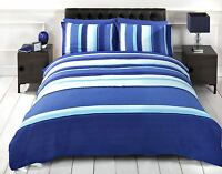 MICHIGAN STRIPED KING SIZE BLUE TEAL COTTON BLEND DUVET COVER SET #TIORTED RH