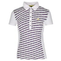 Chervo Polo Annina Tshirt Tee White Purple Stripe Buttons Womens Ladies Size 8