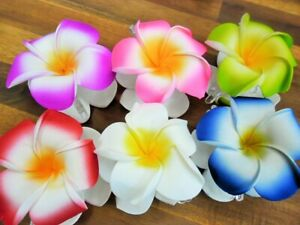 Large Frangipani Hair Claw clips x 6 pcs (9cm diameter) double flowers