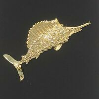 Vintage Swordfish Fish Gold Tone Brooch Pin Marked Gerry's Gerri's