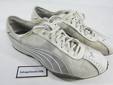 Puma White Leather/Silver Mesh  Mens Size 9 Athletic Running Shoes 351346-14