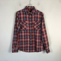 Marmot Button Front Flannel Men's Small Red Plaid Long Sleeve Button Up EUC