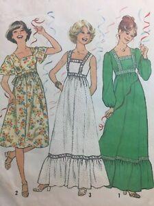 Vintage 1970s Pattern MAXI DRESS RUFFLED Mini Dress Simplicity #8310 Size 14