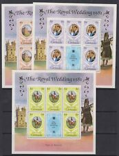 1981 Royal Wedding Charles & Diana MNH Large Stamp Sheetlets Grenada