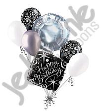 7 pc Elegant Happy Birthday Sparkles Balloon Bouquet Black Damask Silver White
