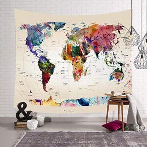 UK Boho World Map Tapestry Wall Hanging Bedspread Mats Hippie Home Decor CN