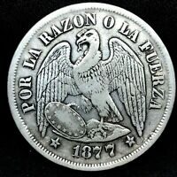REPUBLIC CHILE 1877 SO (25 GRAM) UN (1) PESO  SILVER COIN  KM# 142.1. #2