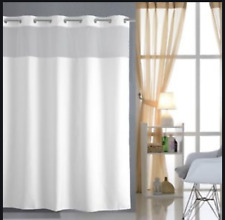 Hookless Shower Curtain White Polyester Fabric, Voile Window 71 X 80 Inches
