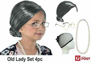 Grandma Wig Set Granny Grey Old Lady Funny Party Christmas Kids Teen Adult
