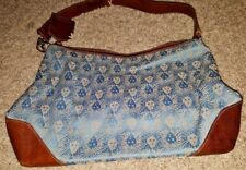 Anne Klein blue lion print with brown leather accent purseshoulder bag.