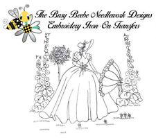 Crinoline Ladies Lady Garden Gal Belle Embroidery Iron-On Transfer #4