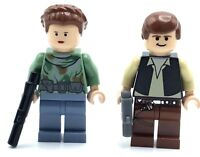 LEGO LOT OF 2 STAR WARS MINIFIGURES HAN SOLO & PRINCESS LEIA CAMO GENUINE FIGS