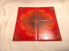 CRISTAL CERAMIC GLAZED TILES BY H&R JOHNSON 1970'S RETRO ORANGE FLOWER. 4 TILES.