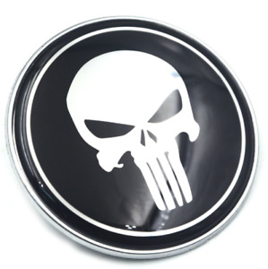 82mm Black Punisher Skull Front Hood Bonnet Rear Trunk Boot Badge Emblem Decal