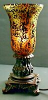 Retro Torche Torch Glass Reverse Painted Gilded table Lamp