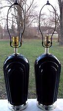 Pair Art Deco Mid Century Modern Black Scalloped Ceramic Table Lamps