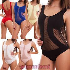 Body donna velato pois maglia canotta elastico sexy aderente nuovo AS-1008-mod