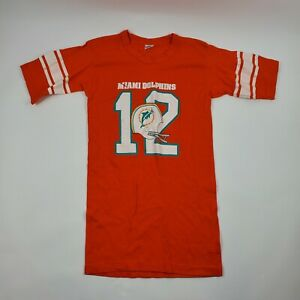 VIntage 70s Miami Dolphins Bob Griese Helmet #12 Champion Orange T-shirt Medium