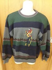 Men's Vintage Buckingham Golf Sweater Size M Long Sleeve Embroidered Blue Green