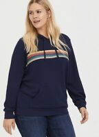 Womens Torrid Doctor Who Navy Rainbow Stripe Hoodie Size 1 14-16 X Large  NWT