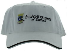 St. Andrews of Scotland Adjustable Buckle Back Hat Embroidered Golf Cap - White
