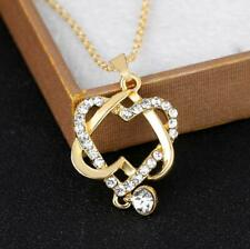 Crystal Double Heart Pendant Gold Chain Necklace Womens Wedding Jewellery Gifts