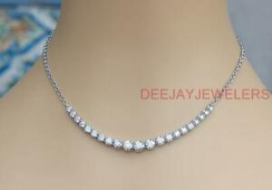 Natural 4.10ct Diamond Half Tennis Necklace 14k White Gold Chain USA Made