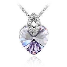 GORGEOUS WHITE GOLD PLATED GENUINE PURPLE AUSTRIAN CRYSTAL & CZ HEART NECKLACE
