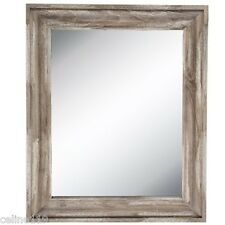 """Large Rustic Farmhouse Reclaimed wood Driftwood Beveled Wall Mirror 35"""" x 29"""""""