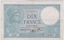 BILLET 10 FRANCS MINERVE QC 28 11 1940 QC 848 O 80667