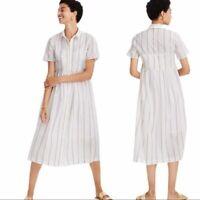 NWT Madewell Striped Midi Shirtdress Dress Size S White Rust Stripe Cotton $128